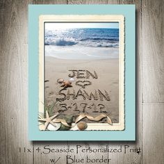 Perfect Wedding present! Personalized 11x14 Sandwriting with Seaside by malibelle on Etsy