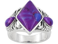 Purple Turquoise Fancy Cut And Pear Shape Cabochon Sterling Silver Ring