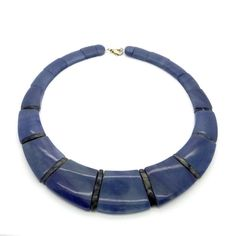 Natural Blue Sodalite Cleopatra Necklace - Wide Collar Necklace - Denim Blue Gemstone Necklace - Lapis Blue Bead Necklace - Healing Jewelry at VintageArtAndCraft