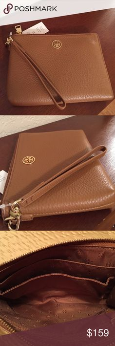 "Spotted while shopping on Poshmark: 🆕Tory Burch ""Landon"" Bark Leather Wristlet. NWT! #poshmark #fashion #shopping #style #Tory Burch #Handbags"