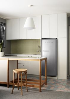 Walk Up Apartment, Small Apartment Interior, Kitchen Room Design, Kitchen Interior, Wood Cabinets, White Cabinets, Richmond Apartment, Ceramic Floor Tiles, Wood Counter