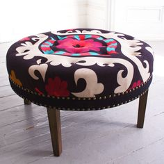 Suzani Print Bath Button Footstool