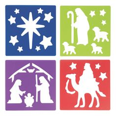Create a religious scene with ease! A fantastic addition to holiday craft supplies, these stencils feature nativity designs of The Three Wise Men, baby Jesus . First Christmas, Christmas And New Year, Baby Supplies, Craft Supplies, Christmas Lanterns, Christmas Decorations, Window Mural, Nativity Ornaments, Three Wise Men