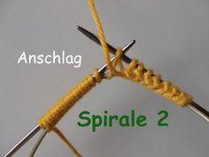 01.4 - STRICKEN : SPIRALE 2 - super-einfach anschlagen - MPs Wickel-Anschlag - Beispiel 4 - YouTube