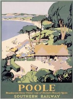 Southern Railway poster for Poole showing Branksome Dene Chine