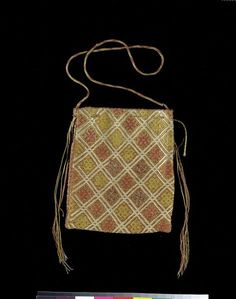 Brick stitch bag, Germany 14th century. Linen embroidered in silk with couched metal thread.
