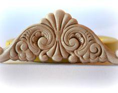 0893 scrollwork Virágzik Wood texturált oromfal Medallion Cartouche szilikon gumi Food Safe Mold Forma- agyag, gyanta, fondant, esküvői torta