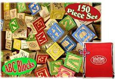 "150 Piece ABC Stack N' Build Wood Alphabet Blocks Bulk Classroom Set with Exclusive ""Matty's Toy Stop"" Storage Bag"