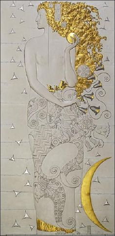 Diana wooden model for marble relief, Palais Stoclet, 1911  Carl Otto Czeschka