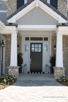 Craftsman porch - black door and grey siding - whole home tour on the blog! (Sunny Side Up)