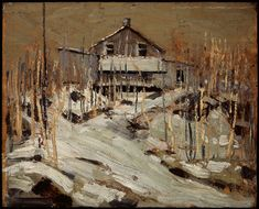 "When it was too cold to camp out in his tent in Algonquin Park, Thomson often stayed at Mowat Lodge, where workers at the local lumber mill lived. Tom Thomson, ""Mowat Lodge (or Fraser's Lodge),"" Art Gallery of Alberta. Group Of Seven Artists, Group Of Seven Paintings, Canadian Painters, Canadian Artists, Landscape Art, Landscape Paintings, Art Gallery Of Alberta, Tom Thomson Paintings, Nature Paintings"