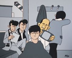 Pete McKee original painting: The Beatles Get a Haircut Pete Mckee, I Believe In Love, Drawing Board, Popular Music, The Beatles, Illustration, Pop Art, Concept Art, Original Paintings