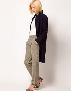 Enlarge ASOS Flecked Herringbone Trousers With Roll Hem