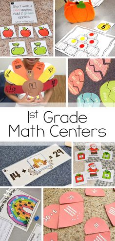 Tons of first grade math centers and activities for the whole year. Each month includes six seasonal activities that scaffold and build upon one another throughout the year!