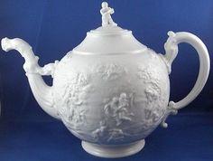 18thC Doccia Ginori Porcelain Blanc de Chine Tea Pot Teapot Porcellana Italian