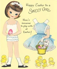 "1960 ""To a SWEET GIRL"" PAPER DOLL EASTER Card (SWEET GIRL 1 of 3)"