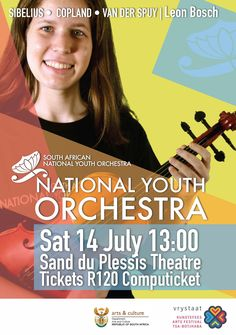 Poster for the National Youth Orchestra in English. South Africa Art, Theater Tickets, Orchestra, Youth, African, English, Culture, Concert, Winter