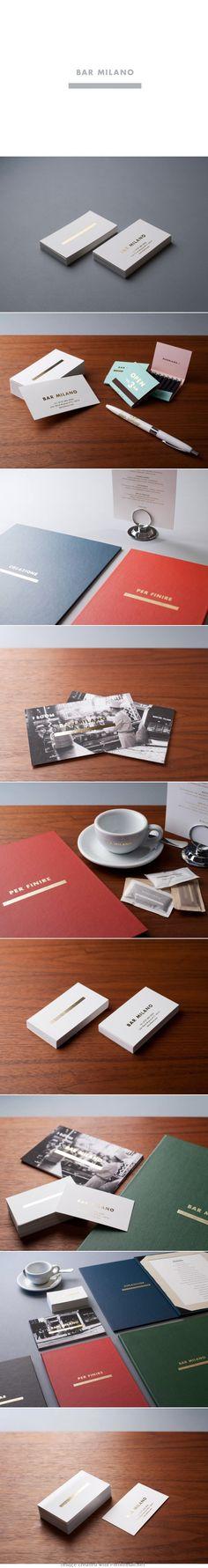 Bar Milano logo corporate branding visual graphic identity bar restaurant design business card gold foil print