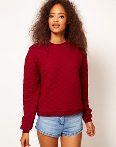 Quilted Sweatshirt featuring  a crew neckline with a ribbed edge, all over diamond quilt, long sleeves with a fitted cuff and hemline. A sweatshirt refers to A loose, heavy shirt, typically made of cotton, worn when exercising or as leisurewear. FD1A1 Candy Lee