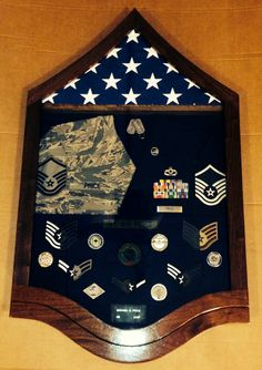 USAF Master Sergeant Stripe Shadow Box. Note the cool combined uniform stripes in the box that my wife came up with.