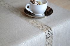 Tan Table Runner Natural Linen Table Decor Table Runner  With Lace Undyed Linens by LinenLifeIdeas on Etsy https://www.etsy.com/nz/listing/164767043/tan-table-runner-natural-linen-table