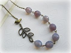 Purple Opal necklace Bird necklace Branch by HappyTearsbyMicah, $23.00