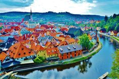 State Castle and Chateau Český Krumlov, Český Krumlov, Czech Republic — by Prerana Daga. Cesky Krumlov city from the castle - wrapped around by the Vlatava river - which acted as a moat and protected the...
