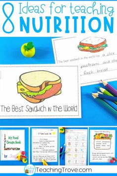 Teaching a food and nutrition unit to your kindergarten or first grade kids? This blog post has lots of ideas for teaching healthy eating including lessons on food groups, my healthy plate and fun literacy centers #foodandnutritionactivities #foodandnutritionlessons