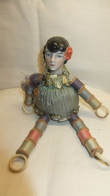 Lovely Unusual Antique Art Deco Half Doll Sewing Pincushion Tiny BOBBINS | eBay
