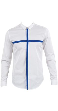 Sahil Aneja presents White with blue cross tape shirt available only at Pernia's Pop-Up Shop. Plain White Shirt, White Shirts, Indian Men Fashion, Mens Fashion, Gents Kurta, Nehru Jackets, Costume, Jackets Online, Men's Collection