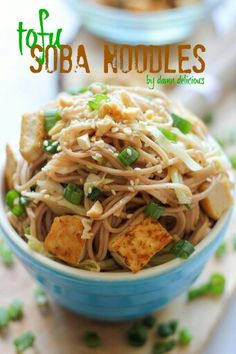 Tofu Soba Noodles INGREDIENTS 1 pound soba 1/4 cup rice vinegar 2 tablespoons soy sauce 1 tablespoon sesame oil 2 teaspoons brown sugar 1 teaspoon sesame seeds 1 tablespoon vegetable oil 1 (14-ounce) package firm tofu, cubed 2 cups shredded cabbage 1 clove garlic, pressed 1 teaspoon freshly grated ginger 2 green onions, thinly sliced Crushed peanuts, for serving Sriracha, for serving INSTRUCTIONS In a large pot of boiling water, cook noodles according to package instructions. Rinse under…