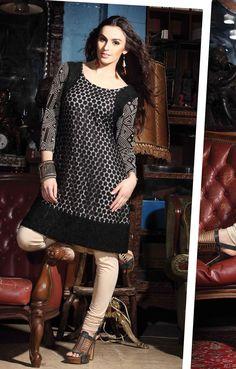 $92.59 Black Full Sleeve Jacquard Short Designer Salwar Kameez 18514
