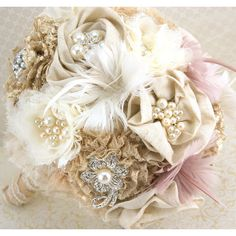 Brooch Bouquet Shabby Chic Rustic in Ivory, Champagne and Blush with Linen, Lace, Pearls, Burlap and Feathers found on Polyvore