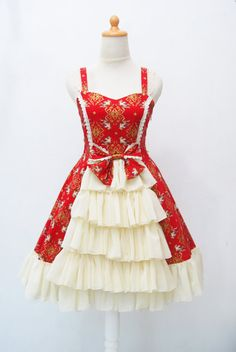 A Prince invite you to a tea party, We make a new red gorgeous lolita dress for you!    We made this cute lolita dress from high quality cotton