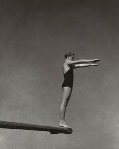 Springboard - Edward Steichen | jump | dive | diver | black & white | vintage | swimsuit | www.republicofyou.com.au -repinned by LA portrait photographer http://LinneaLenkus.com  #portraiture