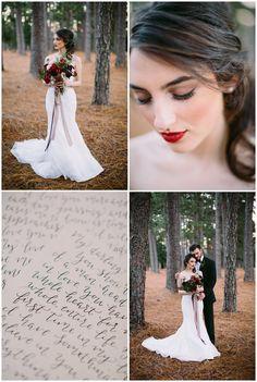 Gorgeous winter wedding inspiration infusion pantone color of the year Marsala. South Carolina wedding inspiration. Natural light wedding photography.
