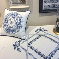 I believe in the calming and cooling effect of blue color . Monogram Cross Stitch, Cross Stitch Borders, Modern Cross Stitch Patterns, Cross Stitching, Embroidery Stitches, Embroidery Patterns, Free To Use Images, Blue Cross, Cushions