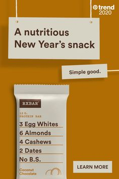 Meeting a resolution is a bit easier with RXBAR Coconut Chocolate. And, it tastes great, too. Find the best camping tent for your camping needs Healthy Bedtime Snacks, Healthy Snacks, Healthy Eating, Healthy Recipes, Clean Eating, Healthy Breakfasts, New Year's Snacks, Diet Snacks, Kosher Recipes