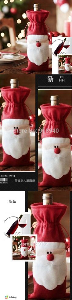 Santa Claus Christmas Gift Bag Bottle Bag Necessary Funds For Christmas Decorations Ornament $1.78