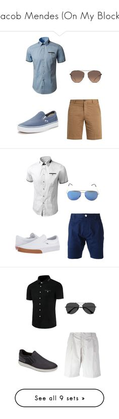 """Jacob Mendes (On My Block)"" by azure-phoenix ❤ liked on Polyvore featuring J.W. Brine, Vans, Balenciaga, Dsquared2, Yves Saint Laurent, Emporio Armani, Rockport, EyeBuyDirect.com, Scotch & Soda and Tom Ford"