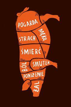 ZWIERZĘ TEŻ CZŁOWIEK 20. edycja konkursu Galerii Plakatu AMS, temat: zwrócenie uwagi na prawa zwierząt do godnego życia (2019) NIKODEM PRĘGOWSKI - WYRÓŻNIENIE ORAZ WYRÓŻNIENIE FUNDACJI ANIMAL RESCUE POLSKA Typo, Poland, Movie Posters, Graphic Posters, Animals, Campaign, Vegetarian, Graphics, Poster