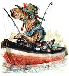 dogs fishing. Omar Rayyan