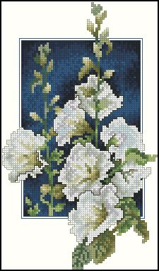 Cross stitch - flowers: Hollyhocks (free pattern - chart)