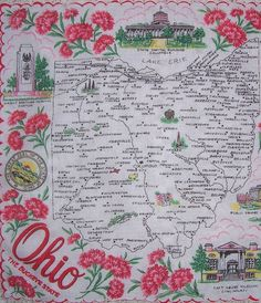 Ohio state map + red scarlet carnations [handkerchief / scarf]