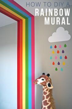 Painted rainbow wall mural. DIY rainbow. Nursery Decor. Nursery Ideas. Nursery Inspo. Nursery Inspiration. Kids bedroom decor. Kids room decor. Nursery interiors ideas. Tester pot paint. Cloud and rainbow.