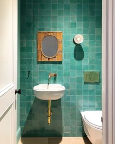 Chateau Domingue's reclaimed sink meets modern chic. Loving this vibrant design by Repost from A wider view of the powder room at one of our Cobble Hill townhouses Small Toilet Room, Guest Toilet, Small Bathroom, Bathroom Sinks, Bathroom Interior, Bathroom Ideas, Heath Ceramics Tile, Elizabeth Roberts, Coastal Bathrooms