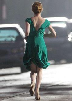 Emma Stone in Green Dress on La La Land -01