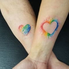 Hearts in love watercolor tattoo by monica_manara