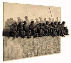 """""""LunchTime Atop the Rockefeller Center @Lou Michaels mixed media sculpture"""