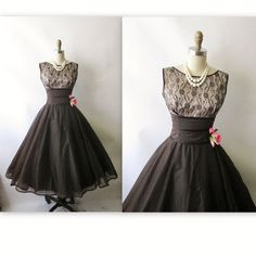 For Shannon: 50's Cocktail Dress // Vintage 1950's Black Lace Illusion Chiffon Full Cocktail Party Dress XS. $168.00, via Etsy.